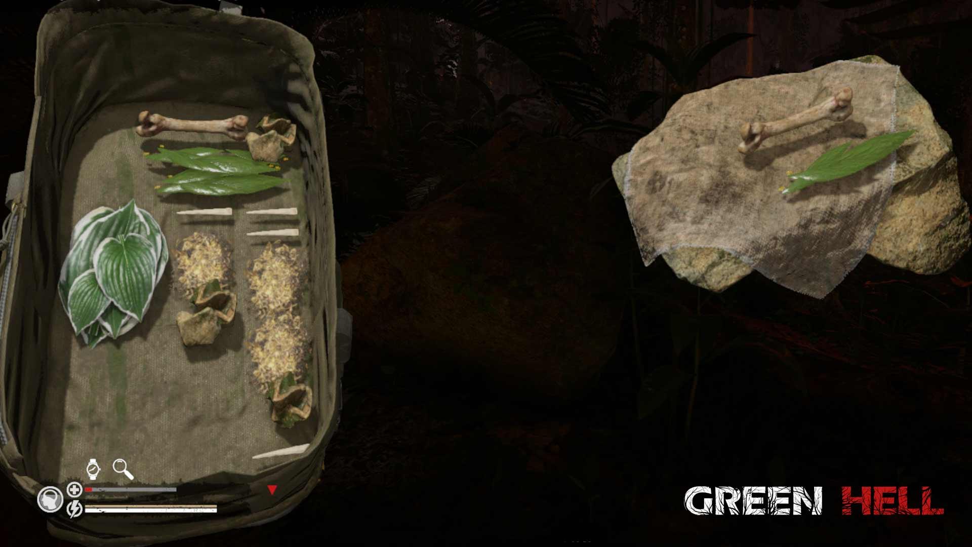 Green Hell Guide: Auf dem Herstellungstisch könnt ihr verschiedene Gegenstände aus dem Rucksack oder der Umgebung zusammen führen und so neue Werkzeuge und Waffen herstellen.