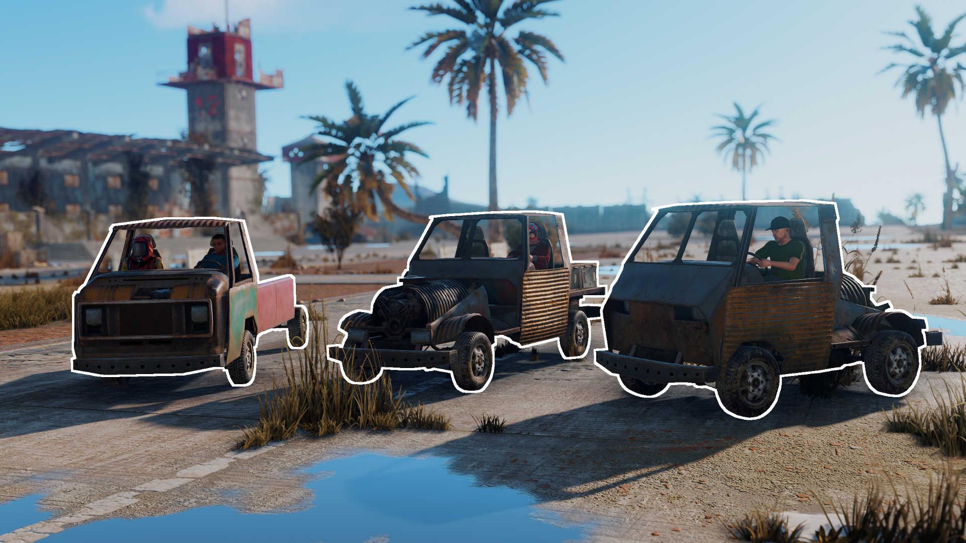 Drei verschiedene Autos in Rust - Das sind die Fahrzeugtypen